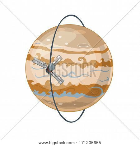 Planet Jupiter and spacecraft is moving in a polar orbit, vector illustration isolated on white background