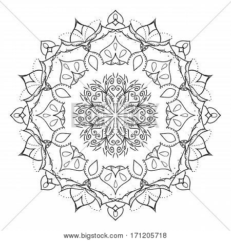 Floral mandala isolated on white background. Gorgeous handdrawn decorative design element. Can be used as a coloring page template. Vector