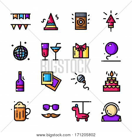 Thin line Party icons set, Entertainment outline logos vector illustration