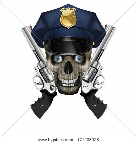 Skull in a police cap and revolver. Isolated object on a white background, can be used with any image or text.