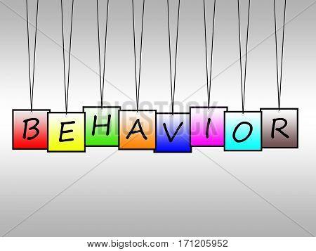 Illustration of behavior word written on hanging tags
