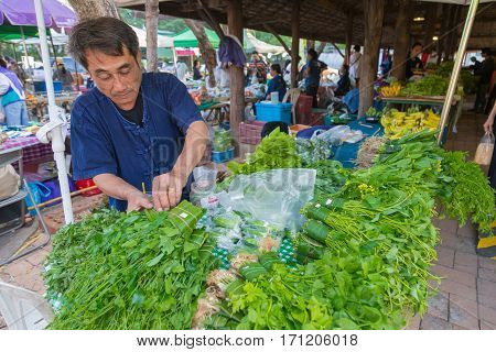 Chiang Mai Thailand - 29 January 2017 - Farmer prepares his vegetable for customers at a morning farmer market in Chiang Mai Thailand on January 20 2017