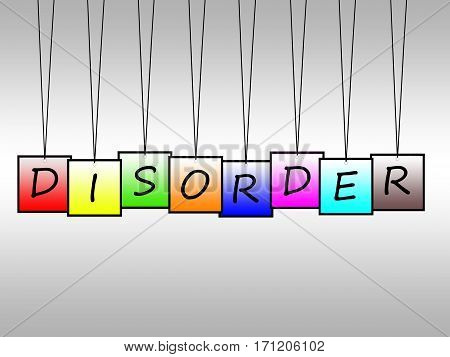 Illustration of disorder word written on hanging tags