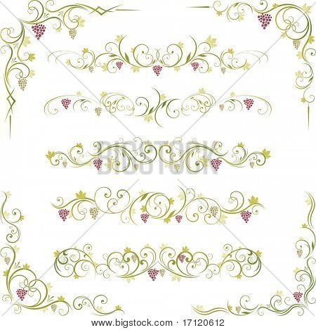 decorative wine illustration design and page dividers