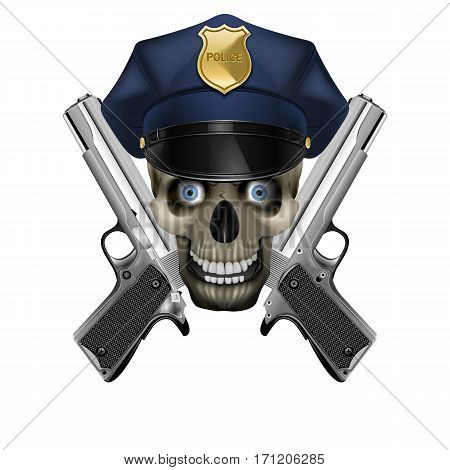Skull in a police cap and silver pistol. Isolated object on a white background, can be used with any image or text.