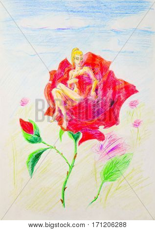 Nude Girl Sitting In Rose Petals. Thumbelina Naked On A Flower