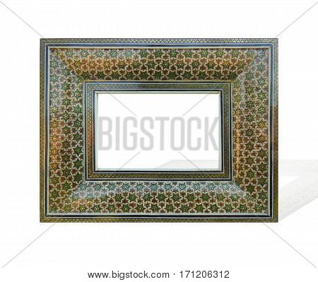 Orient style incrusted antique frame isolated on white background. Suitable for art decoration.