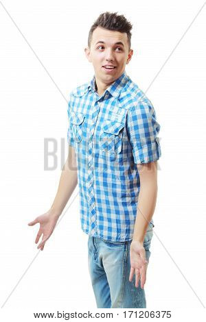 Closeup portrait of dumb clueless young man arms out asking what's the problem who cares so what I don't know. Isolated on white background space to left. Negative human emotion facial expression