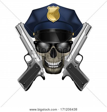 Skull with sunglasses in a police cap and silver pistol. Isolated object on a white background, can be used with any image or text.