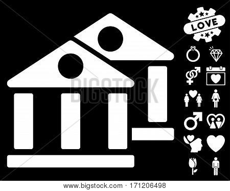 Banks icon with bonus lovely pictures. Vector illustration style is flat iconic white symbols on black background.