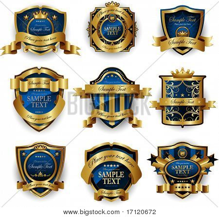Blue gold framed labels
