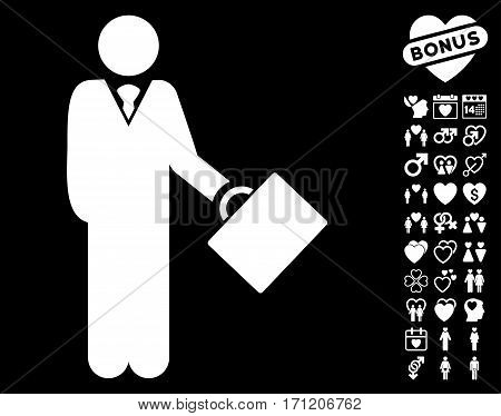 Businessman icon with bonus romantic pictograms. Vector illustration style is flat iconic white symbols on black background.