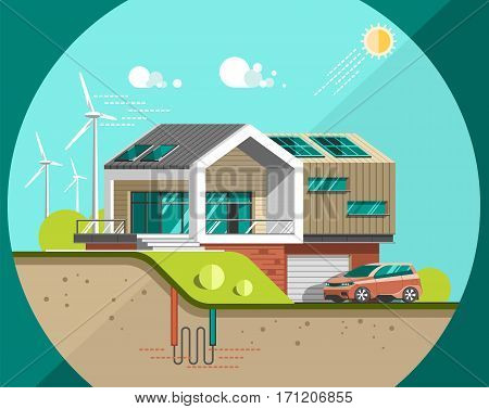 Green energy and eco friendly modern house. Solar, wind, geothermal power. Flat vector illustration.