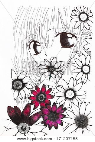 Drawing In The Style Of Anime. Picture Of A Girl In The Flowers In The Picture In The Style Of Japan