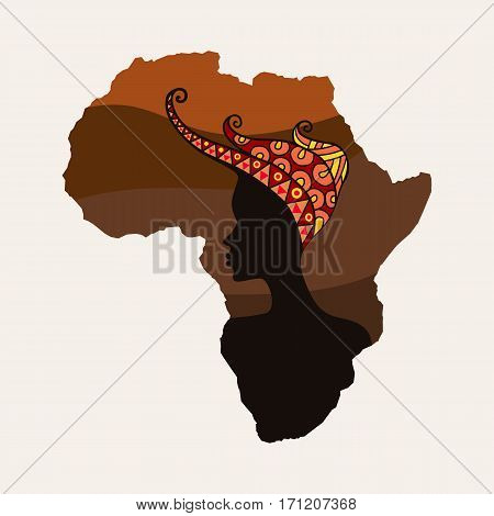 Africa continent and woman silhouettes. Abstract map element. Girl in ethnic headdress. Vector illustration.