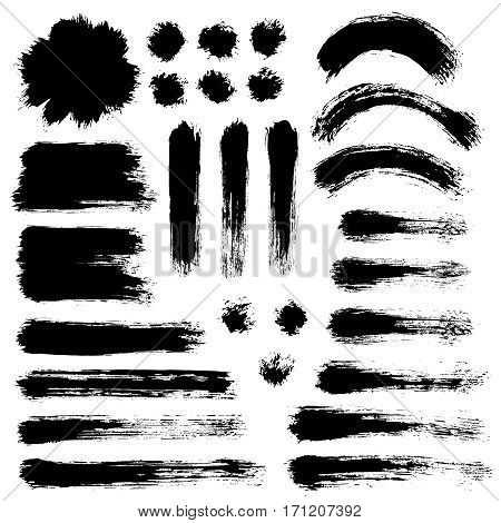 Grunge paint vector. Painted brush strokes. Round text box set. Distress texture backgrounds. Hand drawn banner, label, frame shapes. Black textured design elements. Grungy scratch effect.