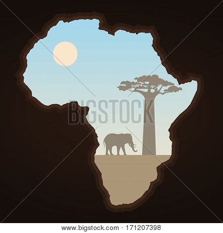 Africa continent and landscape. Abstract map element. Elephant and baobab silhouettes. African Nature vector illustration.