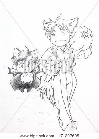 Drawing In The Style Of Anime. The Image Of A Fictional Character, A Girl Cat In The Picture In The