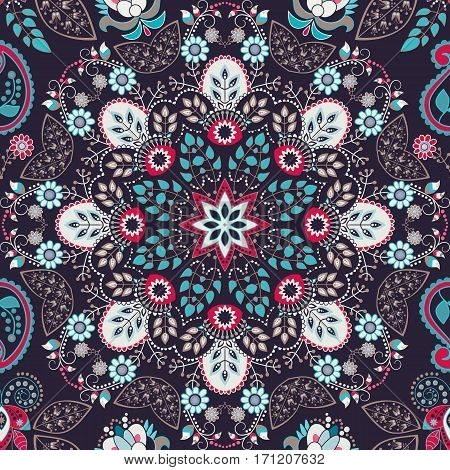 Floral seamless pattern. Colorful ornamental wallpaper, floral background