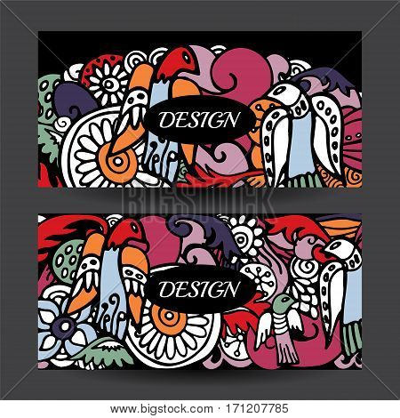 Stock Vector Cartoon Hand Draw Colorful Corporate Identity Horizontal Banner With Waves And Flowers.