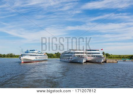 Cruise ships are at berth the famous island of Kizhi in Lake Onega in Karelia in the north of Russia.