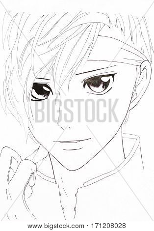 Drawing In The Style Of Anime. Image Of A Man In The Picture In The Style Of Japanese Anime