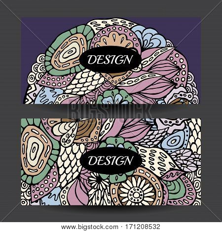 Stock vector cartoon hand draw colorful corporate identity horizontal banner with waves and flowers. background. template for card
