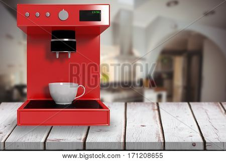 Red coffee maker against kitchen in a stylish home 3d