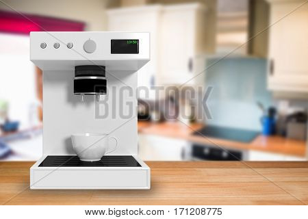 Coffee maker in white against view of a kitchen 3d