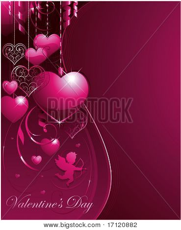 Vector pink valentine background with decorative hearts and cupid