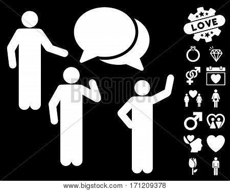 Forum pictograph with bonus love design elements. Vector illustration style is flat iconic white symbols on black background.