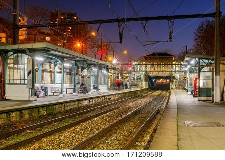 Paris, France - December 29, 2016: Metro Station in the center of Paris at night. The Paris metro is the most convenient mode of transport in the French capital.