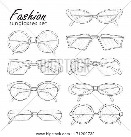 Hand drawn glasses collection: vintage, modern and futuristic