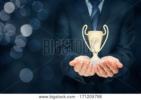 Business success, benchmarking and be number one on market concepts. Businessman hold cup representing success. Coach motivate to succeed.
