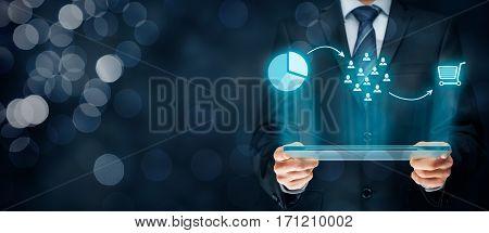 Marketing positioning and marketing strategy - segmentation, targeting and positioning. Visualization of marketing positioning and similar situations on market.