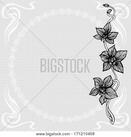 Elegant card with hand drawn orchid branch. Line art flowers branch and flourish corner elements. Decorative Art Nouveau background. Vector illustration.