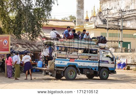 People On The Local Bus In Bagan, Myanmar