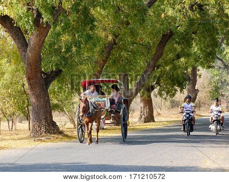Horse Cart Carrying Tourists In Bagan, Myanmar