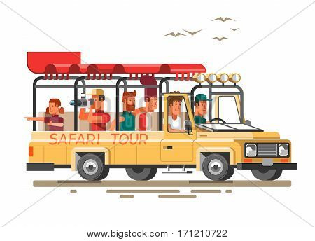 Tourists ride on the savannah in a car and make photos of nature. 3d vector illustration.