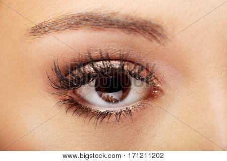 Female eye with long eyelashes.