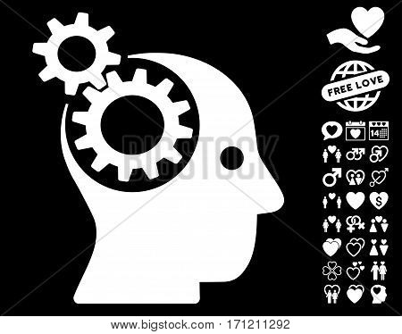 Intellect Gears icon with bonus amour images. Vector illustration style is flat iconic white symbols on black background.