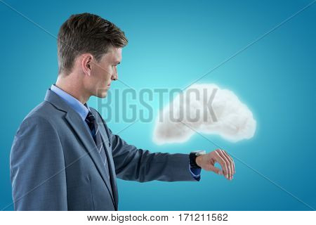 Sophisticated businessman checking time against blue vignette background 3d