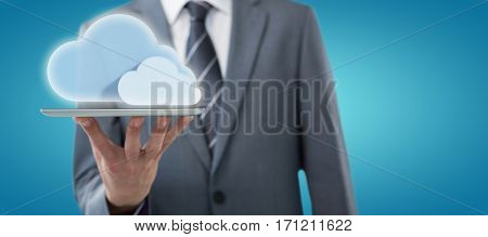 Midsection of businessman with digital tablet against blue vignette background 3d