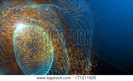 Elegant blue fantasy abstract technology, science and engineering background with waving lines and golden particles. Depth of field settings. 3d rendering.