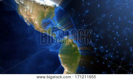 Realistic Earth globe against plexus background. 3D rendering.