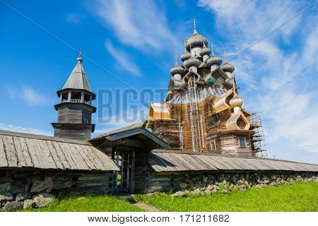 Kizhi Pogost - historical architectural ensemble of the wood is located on the island of Kizhi, included in the UNESCO World Heritage List. Karelia, north of Russia.