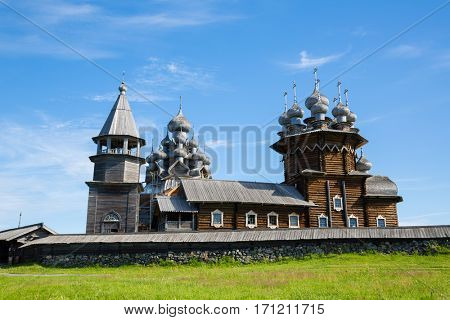 Kizhi Pogost - architectural ensemble of wood located on the Kizhi island, built in the XVIII-XIX centuries. Karelia, north of Russia.