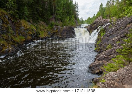 Famous waterfall Kivach on the Suna River in Karelia in the north of Russia in the summer