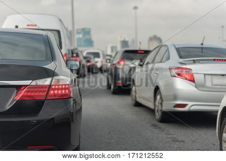 Traffic Jam With Row Of Cars On Exprees Way