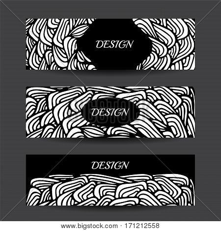 Stock vector cartoon hand draw black and white corporate identity horizontal banner with waves. background. template for card